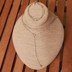 Crystal Drop 2-Row Y-Necklace and Bracelet Set